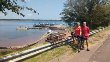 Gary and Bonita cycling in Lower Montague, PEI