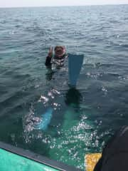 Dorthe is diving  in Japan