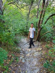 My son Jordan. We were out on one of our hiking adventures.