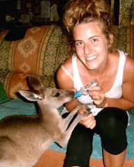 Brittany at the kangaroo rescue farm!