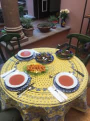 Dinner in one of our outdoor spaces