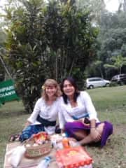 Enjoying traditional culture in Bali and eating local food with my Balinese friend
