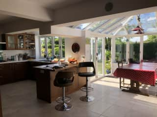 Large open kitchen dining