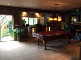 Walkout basement and pool table
