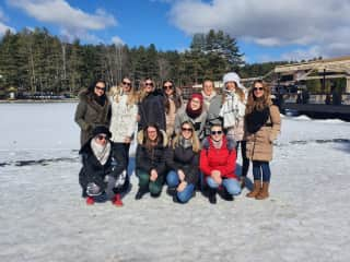 A whole team of girlfriends enjoying the snow in Serbia.