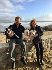 Diane and David having fun with the pooches!