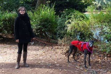 Amandine and Penny on a walk in Lille, France