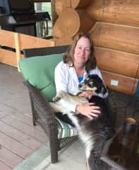 Judy and a lovely dog we were caring for at a house sit.