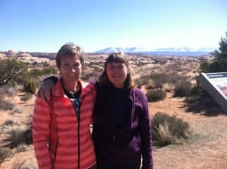 With Peggy, college roomie, hiking in CO