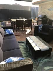 Outside lounge and dining areas, all enclosed