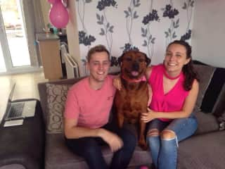 Matt and I hanging out with Alfie (Boxer*Rottweiler)