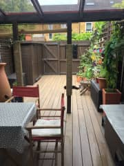 back garden with covered seating