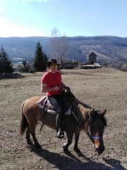 Me (Enid) on horseback