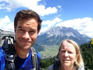 Hiking it the Alps with son Niall.