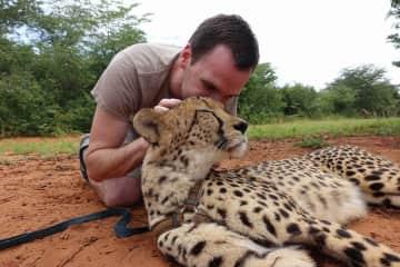 Justin and Susan at the Cheetah Reserve :) (Livingstone, Zambia)