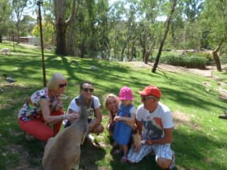 Family at animal park in Adelaide hills