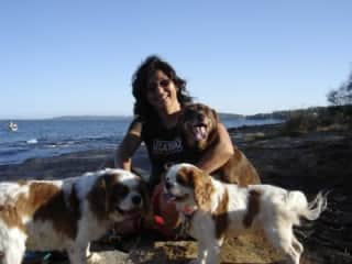 Mahrukh with Blue, Penny and Bozo in Central Coast