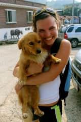Kristen falling in love with her host family's dog in Korea