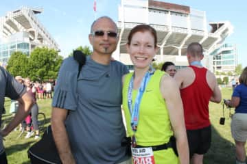 After a marathon in Cleveland with my husband as support :)