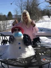 Lots of fun in the snow!  Building snowman wasn't as easy as I thought it'd be !  Lol