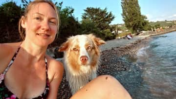 Saffy and I, after a swim, on the lake Leman beach