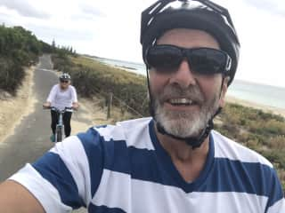 Riding our bikes by the coast.  A regular occurrence