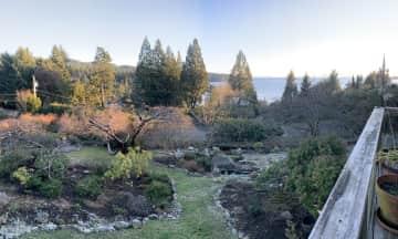 The garden. The beach is a 10 minute walk away.