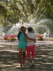 Helping my Mom on a walk in Savannah