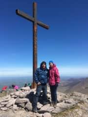 Iron cross top of mountain. Ireland