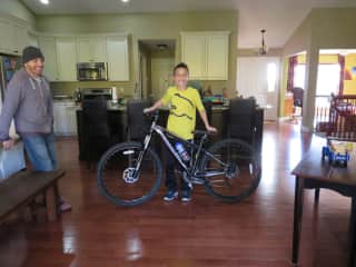 My son with his new mountain bike