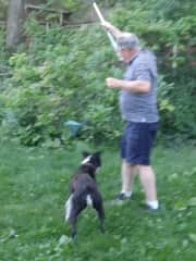 Steve playing with Gina.