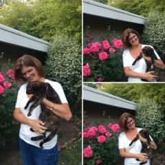 Phoebe enjoying hugs in our garden
