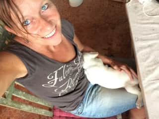 Me with Bodie, one of two three months old puppies I took care in Bali. Still missing them!