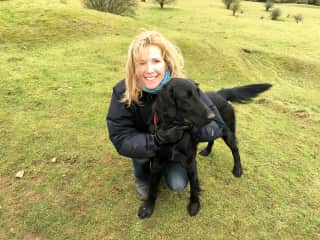 Me with beautiful, exuberant Maya, who I cared for in the Cotswolds