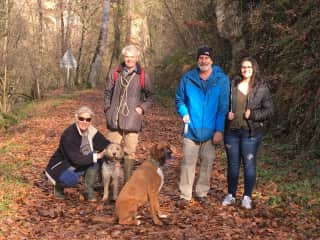 Enjoying a walk in the woods in Escanacrabe, France with Phoebe and Maya.  With grown-ups Woodie and our daughter, Amy, and homeowners Peter and Sabrina. December 2019.