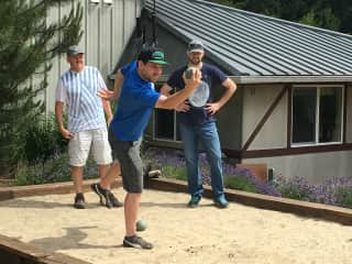 Bocce with sons at local winery