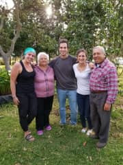 With friends at their orchard in Ecuador