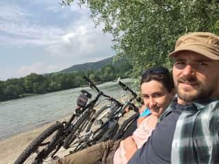 out biking on along the river Donau