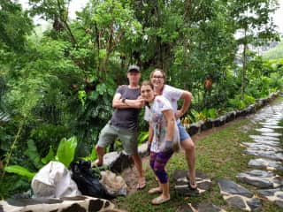 Scotia has a passion for cleaning plastic from the environment. Here we are with a friend in Bali after a successful river cleaning expedition.