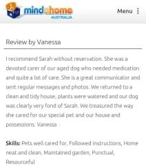 Homeowner review Mindahome.com.au, Canberra,  4 mths sit 2017