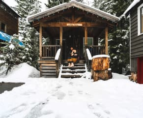 My boyfriend and I at our cabin we rent during the winter months in Govy.