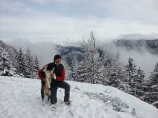 Barnaby loves the snow - 1-hour walk from our house