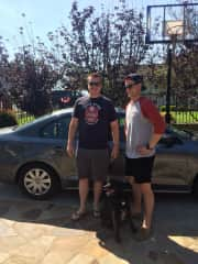 Stevo and his brother about to drive across the US with their family dog, Ally, when his parents moved from California to Tennessee.