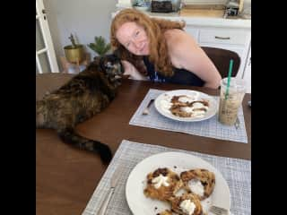 Can't have my birthday pancakes without fish, the cool cat!