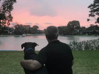 Tux and Clark watching the sunset in Melbourne