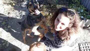 My wife with nice dog