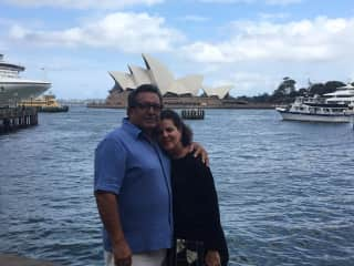 On one of our Australia trips..The Sydney Opera House is in the background
