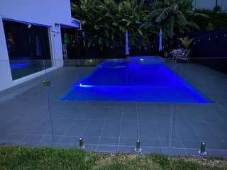 Relaxing secure and modern setting. Relax by or in the pool to cool off on hot days.