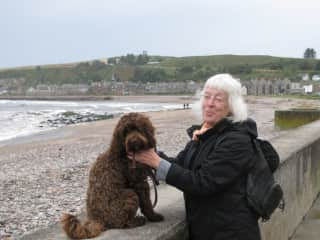 Pippen joins friends for a run on Stonehaven Bay near North Sea in Scotland