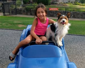 Neice, Z and our best friend Ziggy. She might accompany me on sits from time to time. She's 11, now, and uber helpful with the animals. Loves her Aunt Tif! We both adore the animals :)